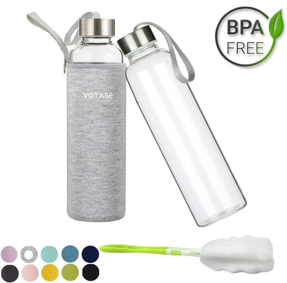 Voarge Botella de Cristal Classic sin BPA, de 550 ml, con Funda de Nailon, para el Coche, para Viajes o Deportes, Gris