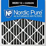 Nordic Pure 24x24x4PM12C-1 Pleated MERV 12 Plus Carbon AC Furnace Filter (1 Pack), 24 x 24 x 4''