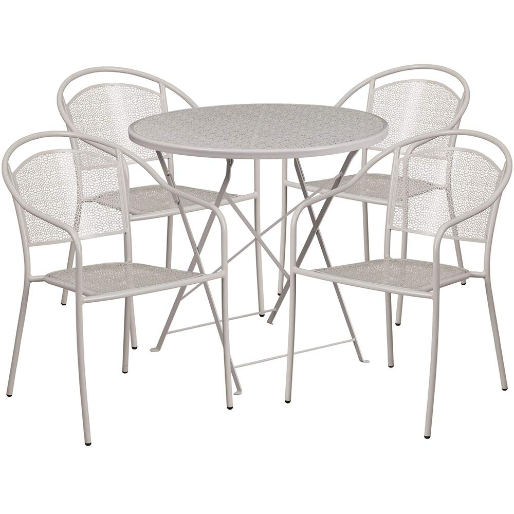 D 30'' Round IndoorOutdoor Steel Folding Patio Table Set with 4 Round Back Chairs