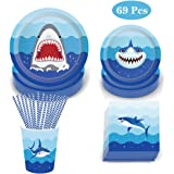 69 Pack Shark Disposable Tableware, DreamJ Shark Party Supplies with Shark Plates,Napkins, Cups and Straws for 8 Guests…