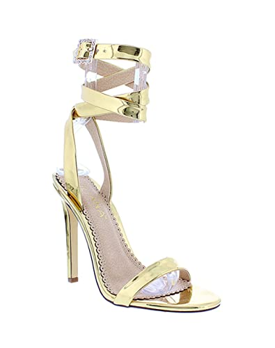 f4c1d59299 Amazon.com | Liliana Ankle Wrap Open Toe Strappy Stiletto Heel Sandal  Nikia105 (gold 5.5) | Heeled Sandals