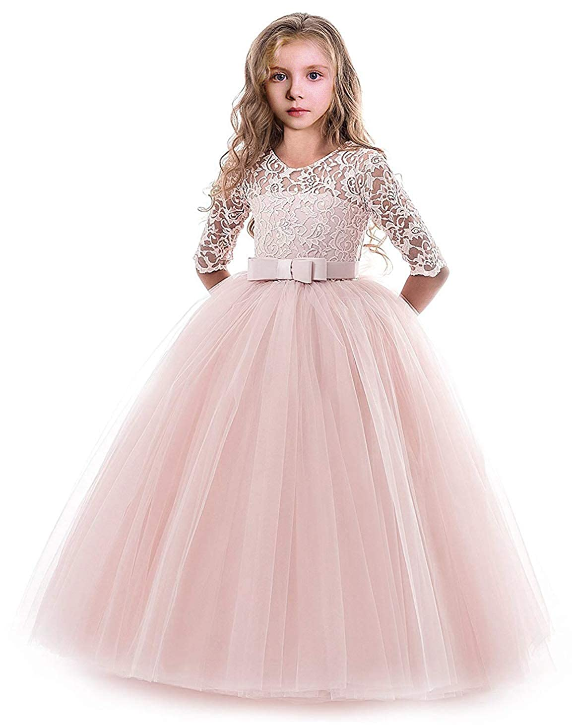 Devoted Long Little Bride Pageant Holiday Dress For Girls Corset Kids Graduation Ball Gown Puffy Tulle Dress Prom Flower Girl Dress Pretty And Colorful Flower Girl Dresses