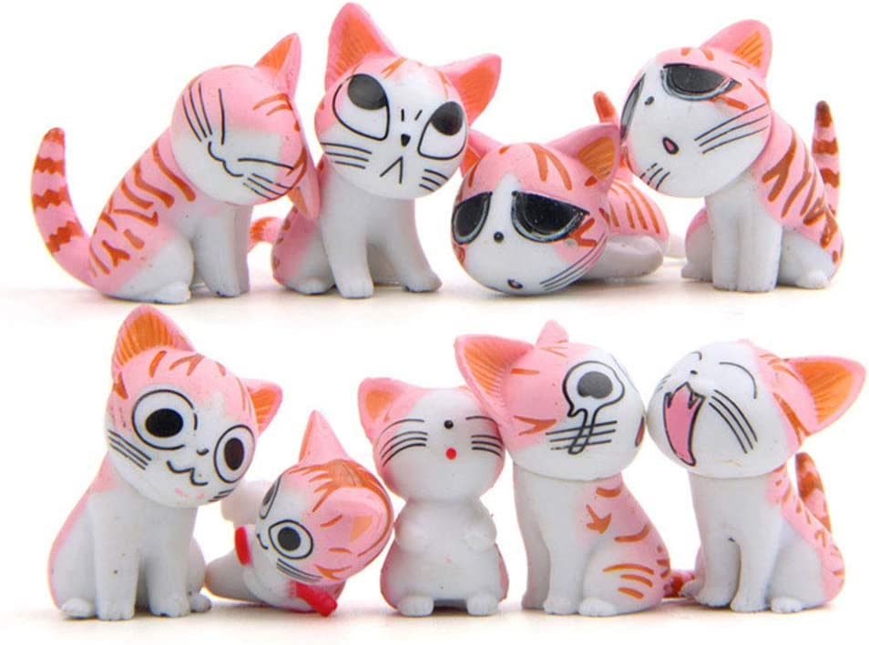 9 Pcs Cat Figurines, Cat Animal Collection Toy for Miniature Fairy Garden, Cake Topper Decoration (Pink)
