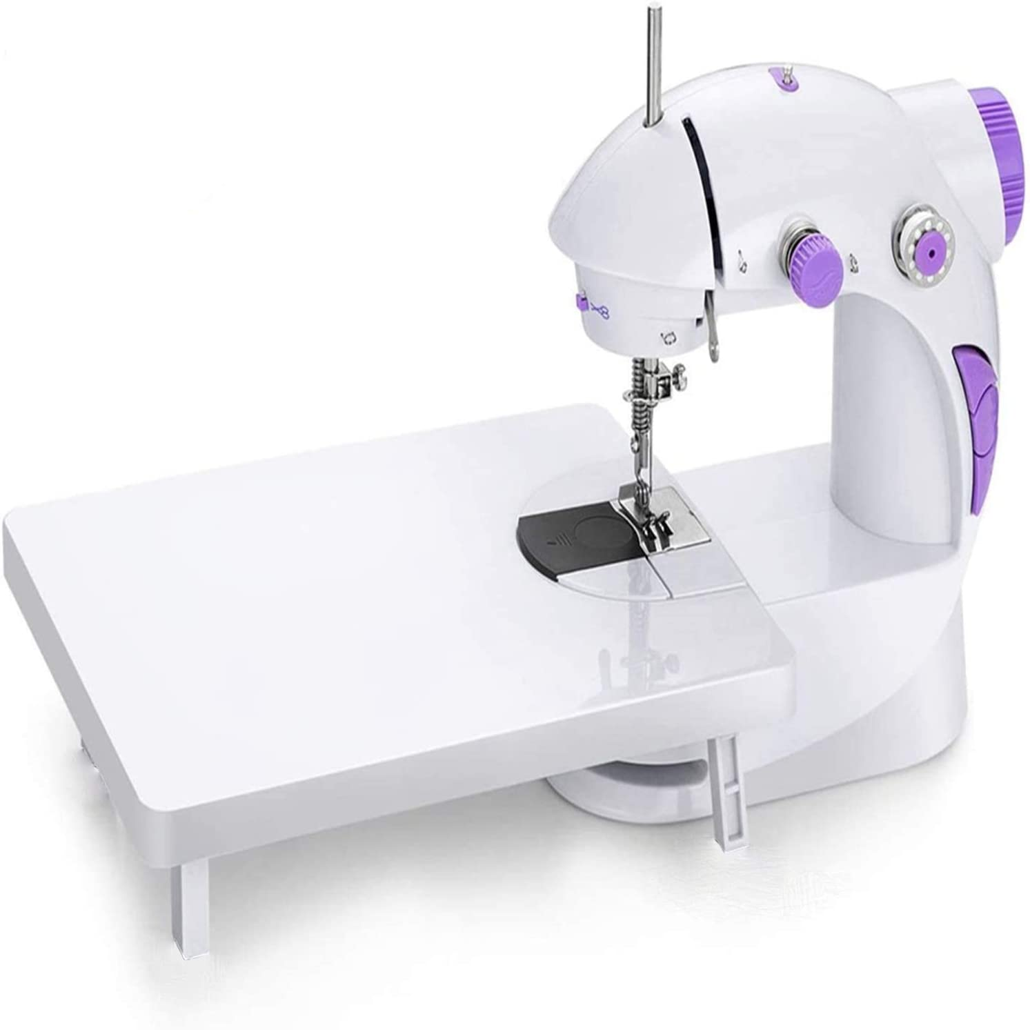 Mini Portable Sewing Machine with Extension Table,Adjustable Double Speed Crafting Mending Machine,for Household Beginners