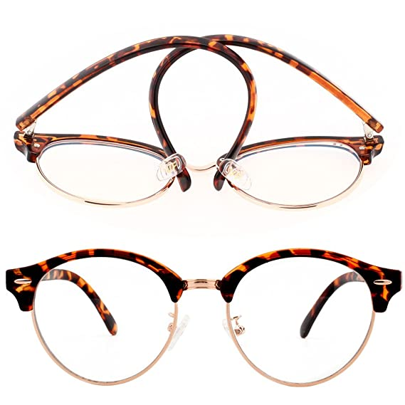 eb08f2449a9d VIVIENFANG Clear Lens Half Frame Horn Rimmed Round Optical Glasses Frame  Anti blue light Computer Glasses TR90 T2116B Brown Demi: Amazon.in:  Clothing & ...