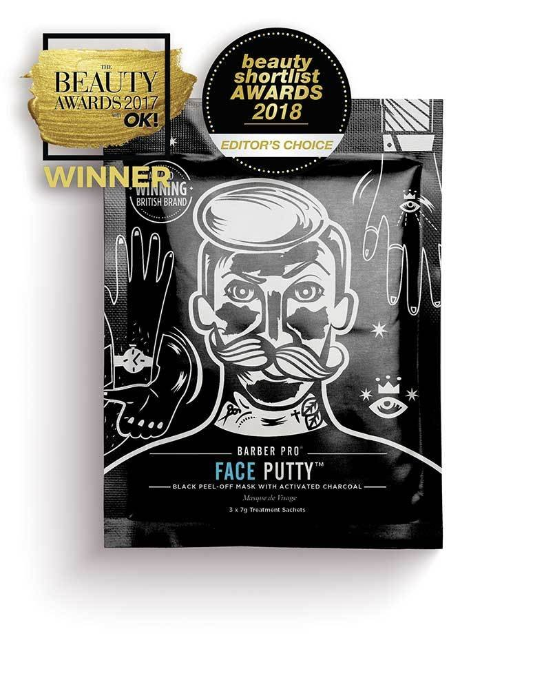 BARBER PRO FACE PUTTY Award Winning Black Peel-Off Mask With Activated Charcoal (3 x 7g) BeautyPro