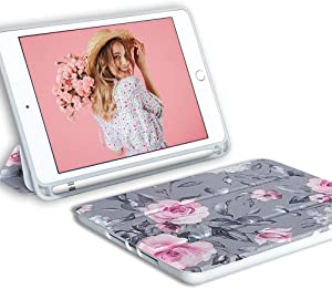 iPad Mini 5 Case for Women Girls,YeLoveHaw Slim Trifold Folio Protective Smart Cover Case with Floral Gray Leaves Pattern,Auto Sleep Wake,Pencil Holder for iPad Mini 5th Generation 2019(Pink Flowers)
