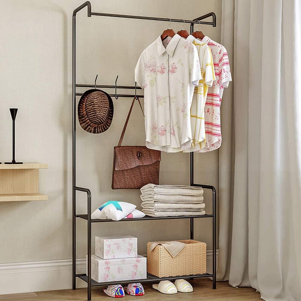 Yaunli-ymj Large hanger with shoe rack Entryway Coat Rack With Storage Shoe Rack Hallway Organizer 5 Hooks Coat umbrella stand hat shoe rack metal Color : Brown, Size : 72/×32/×165cm