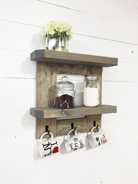 Rustic Wooden Kitchen Shelf / Coffee Shelf With Mug Hooks By Mountain Creek  Woodworks (Classic