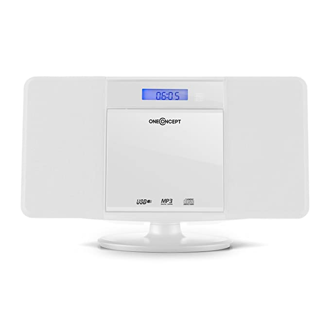 oneConcept V-13 minicadena compacta (equipo estéreo con reproductor de CD, MP3, USB, AUX, radio FM, 2 altavoces, mando a distancia, reloj con alarma, ...