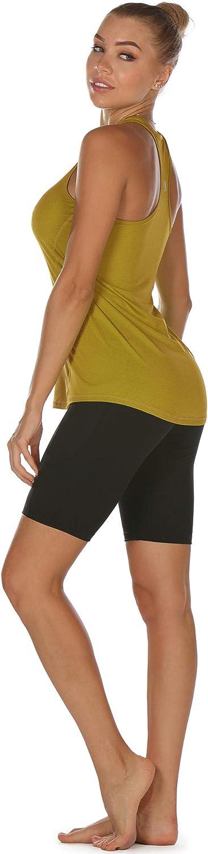 icyzone Tank Top Donna Canotta Sportiva 3 Pacco Running delle Donne Vest Yoga Wear da Maniche a Spalle Scoperte Formazione e Palestra Canotta