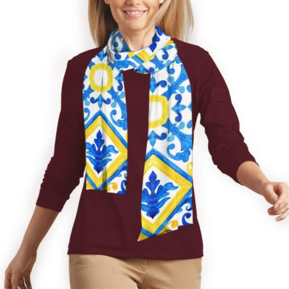 Cotton Scarves For Mens And Women Winter Fashion Scarf Portuguese Azulejo Tiles Watercolor Seamless Pattern Long Plain Warm Soft Scarves For Men
