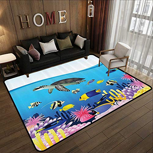 Kids Rugs for playroom,Whale Decor Collection,Sea Life Anemone Turtles Goldfish Snorkel Tropical Seascape Cartoon Design,Blue Yellow Grey 71