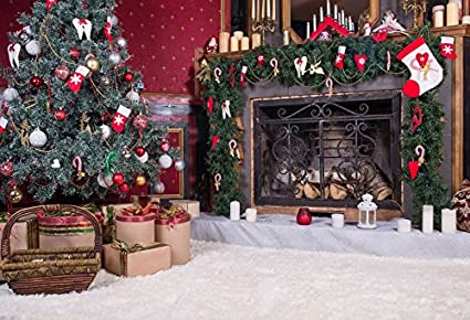 baocicco luxury christmas decorations interior backdrop 10x8ft vinyl photography backgroud white fuzzy carpet fireplace stocking candle
