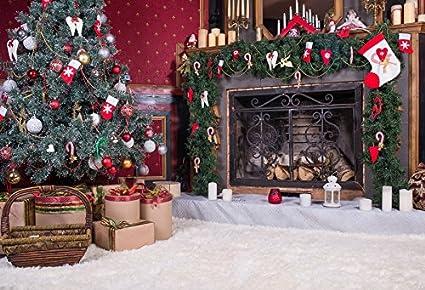 baocicco luxury christmas decorations interior backdrop 10x8ft vinyl photography backgroud white fuzzy carpet fireplace stocking candle