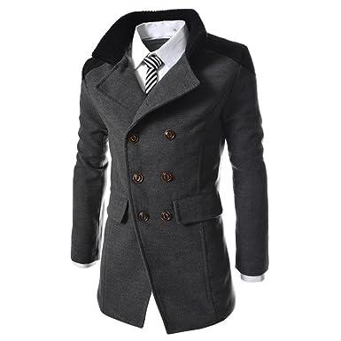 100% d'origine promotion spéciale divers styles FNKDOR Manteau Homme Laine Hiver Chaud Trench-Coat Caban élégant Blouson  Parka Veste Slim Fit Casual Coat