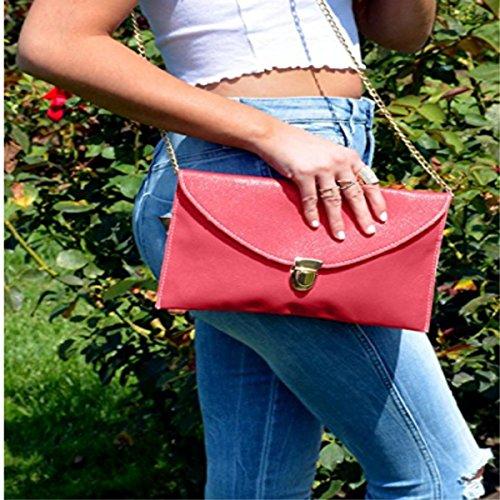 Amaze Fashion Women Handbag Shoulder Bags Envelope Clutch Crossbody Satchel Purse Tote Messenger Leather Lady Bag (Coral) by Amaze (Image #3)