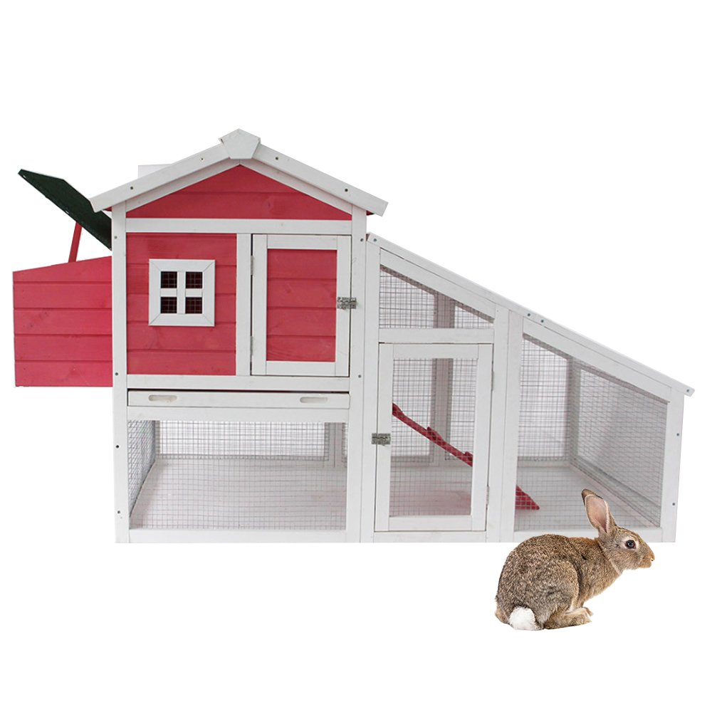Lucky Tree Large Chicken Coop Rabbit Hutch Outdoor House with Run Nest Bunny Hen Cage Wooden Pet Home for Small Animals, Pink by Lucky Tree