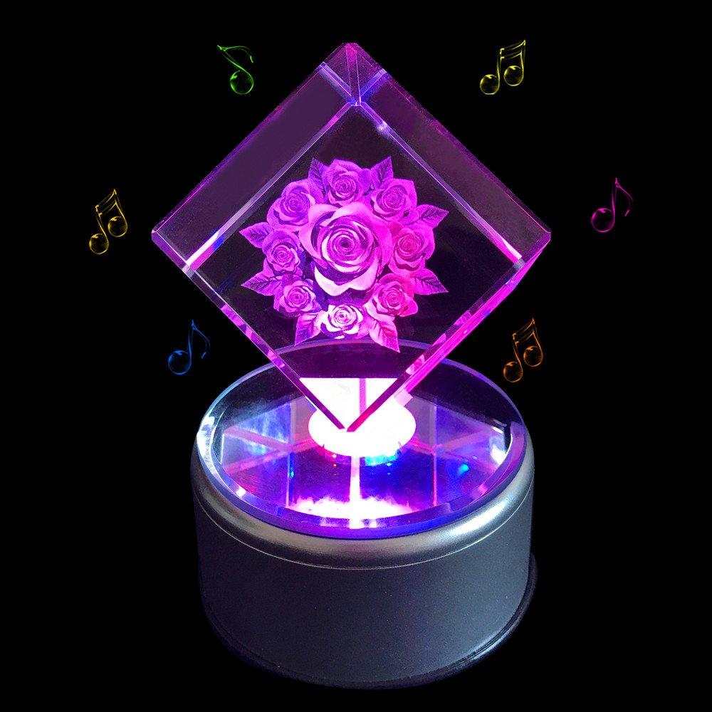 本物 qianruna 3dレーザーエッチング彫刻クリスタルローズフラワー音楽ボックス誕生日プレゼントの妻 Roses、ママ、バレンタインの日ギフトボーイフレンド Text、ガールフレンド、 Base|Nine Bluetooth Base-Custom Text B075FTFB22 Nine Roses Music Base Music Base|Nine Roses, まめぞう:2ba96ab1 --- arcego.dominiotemporario.com