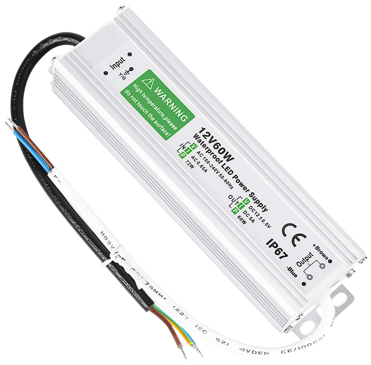 60W LED Driver 12V DC Waterproof Superior Quality Power Supply Transformer for LED Strip Lights and LED Module by OSCREE
