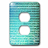 3dRose Uta Naumann Faux Glitter Pattern - Sparkling Teal Luxury Elegant Mermaid Sea Ocean Waves - Light Switch Covers - 2 plug outlet cover (lsp_272858_6)
