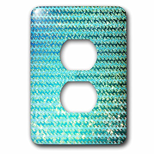 3dRose Uta Naumann Faux Glitter Pattern - Sparkling Teal Luxury Elegant Mermaid Sea Ocean Waves - Light Switch Covers - 2 plug outlet cover (lsp_272858_6) by 3dRose