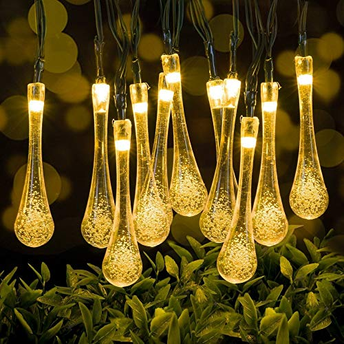 Indoor Outdoor Solar String Lights - Raindrop Outdoor Decorative String Lights Automatic Indoor Outdoor USB rechargeable 30 LED 20 Ft for Festivals Garden Tree Hedge Wedding String Light USB