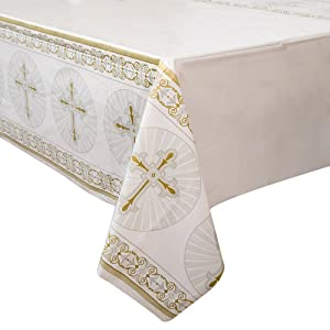 "Gold & Silver Radiant Cross Religious Plastic Tablecloth, 84"" x 54"""