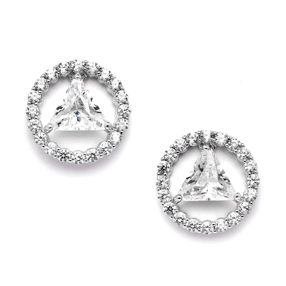 Mariell AA Recovery Symbol Cubic Zirconia Earrings Celebrate Alcoholics Anonymous Sobriety