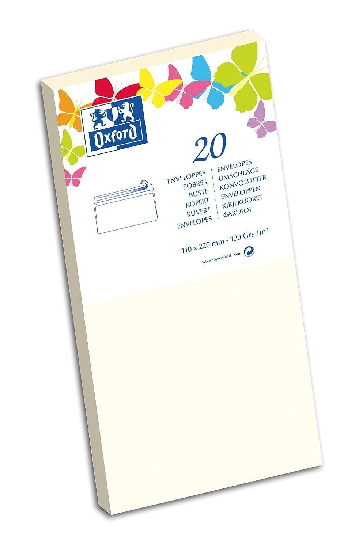 Oxford Correspondance Lot de 10 Enveloppes Format long Vanille