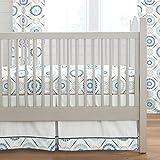 Carousel Designs Blue Modern Medallion Crib Skirt Box Pleat 20-Inch Length