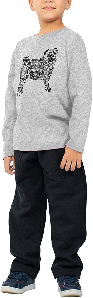 Baby Girls Little Boys Pug Dog Word Art ComfortSoft Long Sleeve T-Shirt