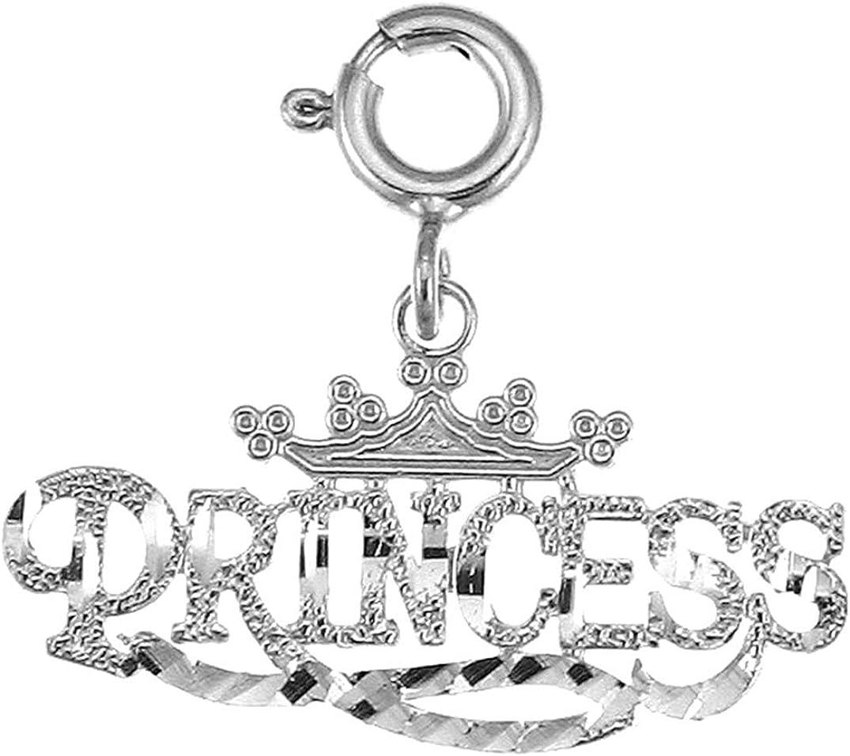 Jewels Obsession 14K White Gold Princess Pendant 17 mm