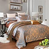 What Is a European King Size Bed MKXI Generous Jacquard Weave Tencel Duvet Cover Set, Gentle on the skin-nargisK