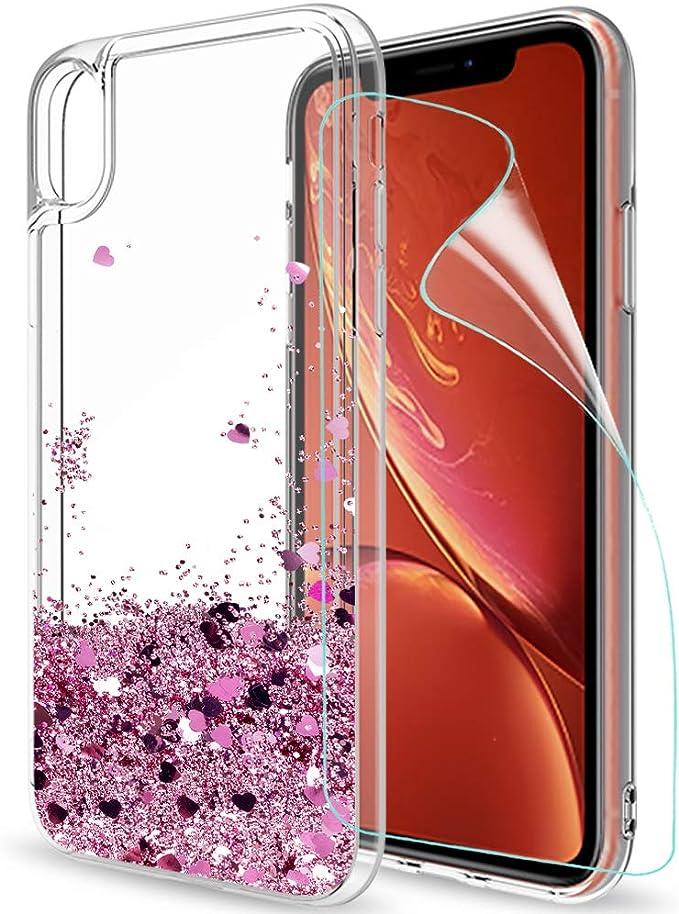 57 opinioni per LeYi Custodia iPhone XR con HD Pellicola Glitter Cover,Brillantini Trasparente