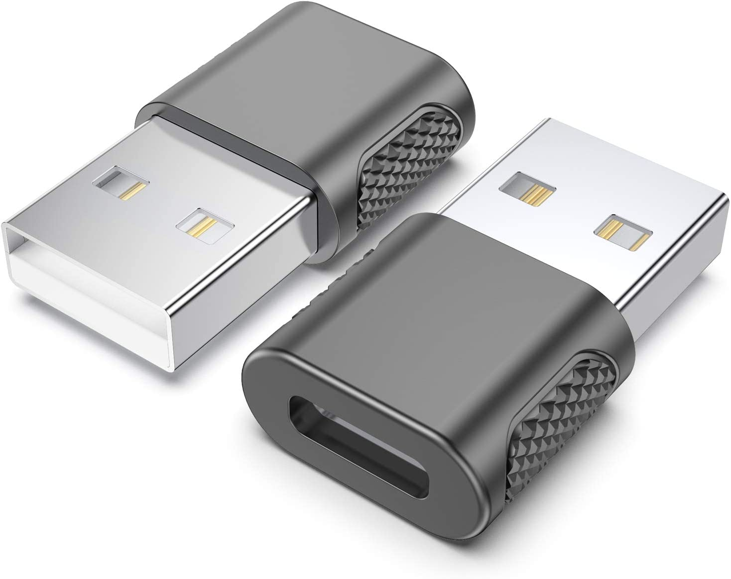USB C Female to USB Male Adapter (2-Pack),Type C Charging Cord Connect USB A Charger,Compatible with iPhone 12 11 Pro Max,iPad Air/Pro,Samsung Galaxy Note 10 S20 S21 Plus,Google Pixel 5 4 3 2 XL