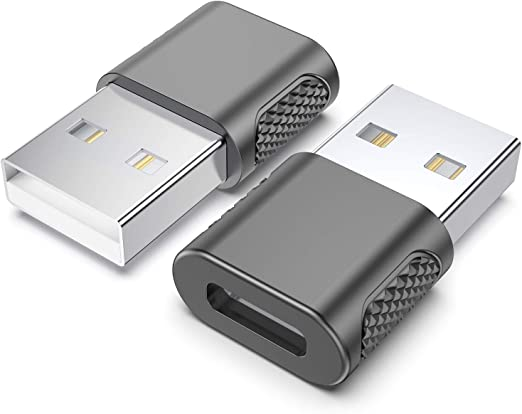 USB-C Female to USB-A Male Adapter 2-Pack Type C to USB Charger Connector Adapter iPhone 12 11 Pro Max Mini//XR//SE//Airpods//iPad 8//Air 4//Samsung Galaxy Note 10//20//S20//Plus//Pixel 5 with Wall Chargers