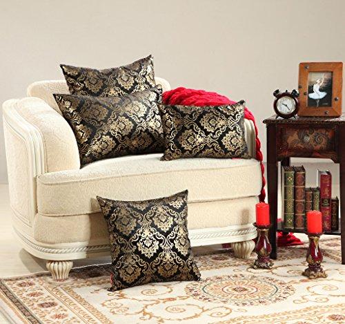 MochoHome Luxurious Cotton Velvet Gold Foil Square Decora...
