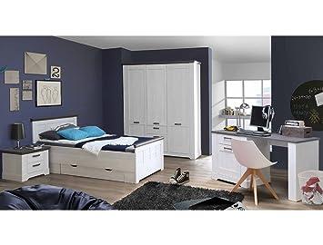 Expendio Schlafzimmer Gaston 62 Weiß Grau Schneeeiche 6 Teilig Jugendzimmer  Seniorenzimmer Landhaus Bett Schrank Nachttisch