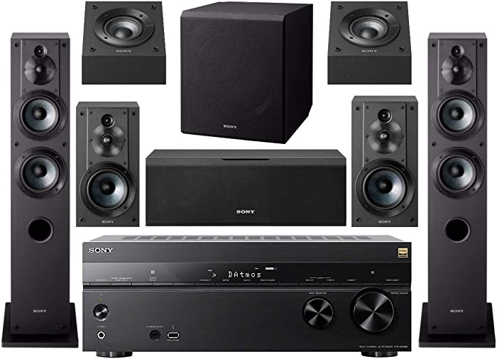 Sony STR-DN1080 7.2-Channel Home Theater AV Receiver Bundled with Active Subwoofer and Seven Sony Speakers (9 Items)