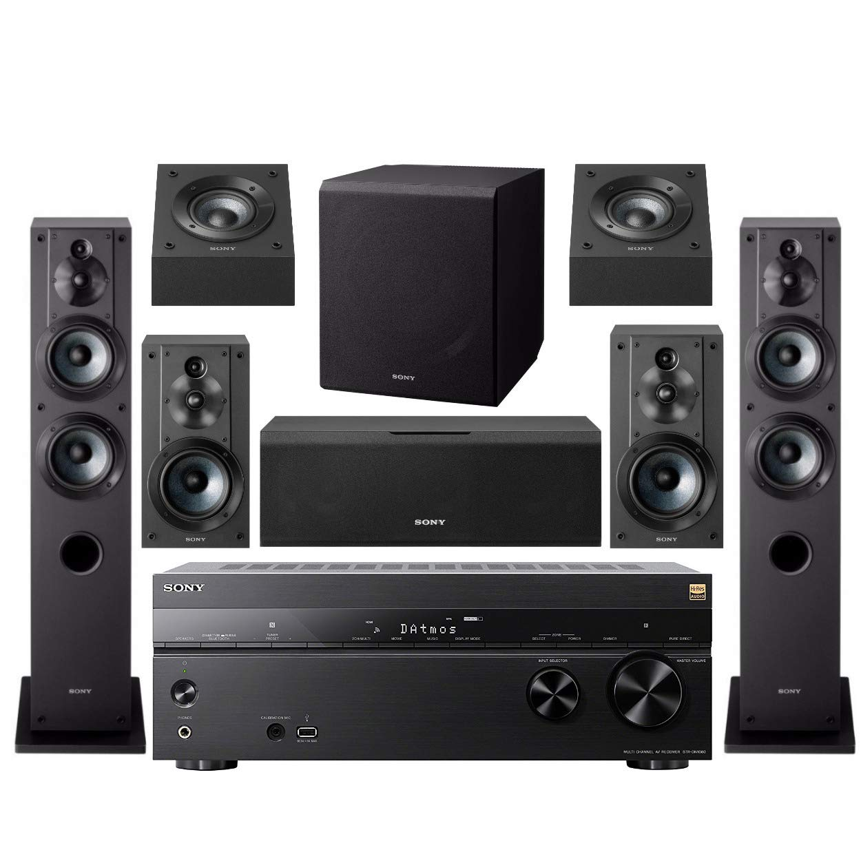 Sony STR DN1080 7.2 Channel Home Theater AV Receiver Bundled with Active Subwoofer and Seven Sony Speakers (9 Items)