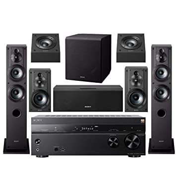 Sony STR-DN1080 7 2-Channel Home Theater AV Receiver Bundled with Active  Subwoofer and Seven Sony Speakers (9 Items)
