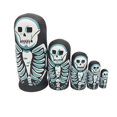 Yangmg 5 Piezas Lindas muñecas de anidación Esqueleto Ruso apilables muñecas colección de Juguete: Juguetes y juegos
