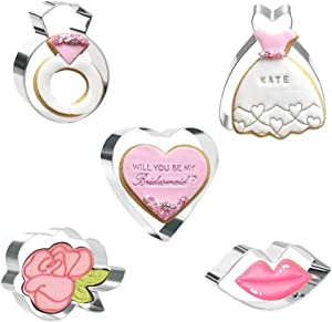 KAISHANE 5PCS Valentine's Day Cookie Cutters Set - Wedding Cookie Cutters Set with Biscuit Pastry Cutters Stainless Steel(Love Lips Ring Dress Rose flower )
