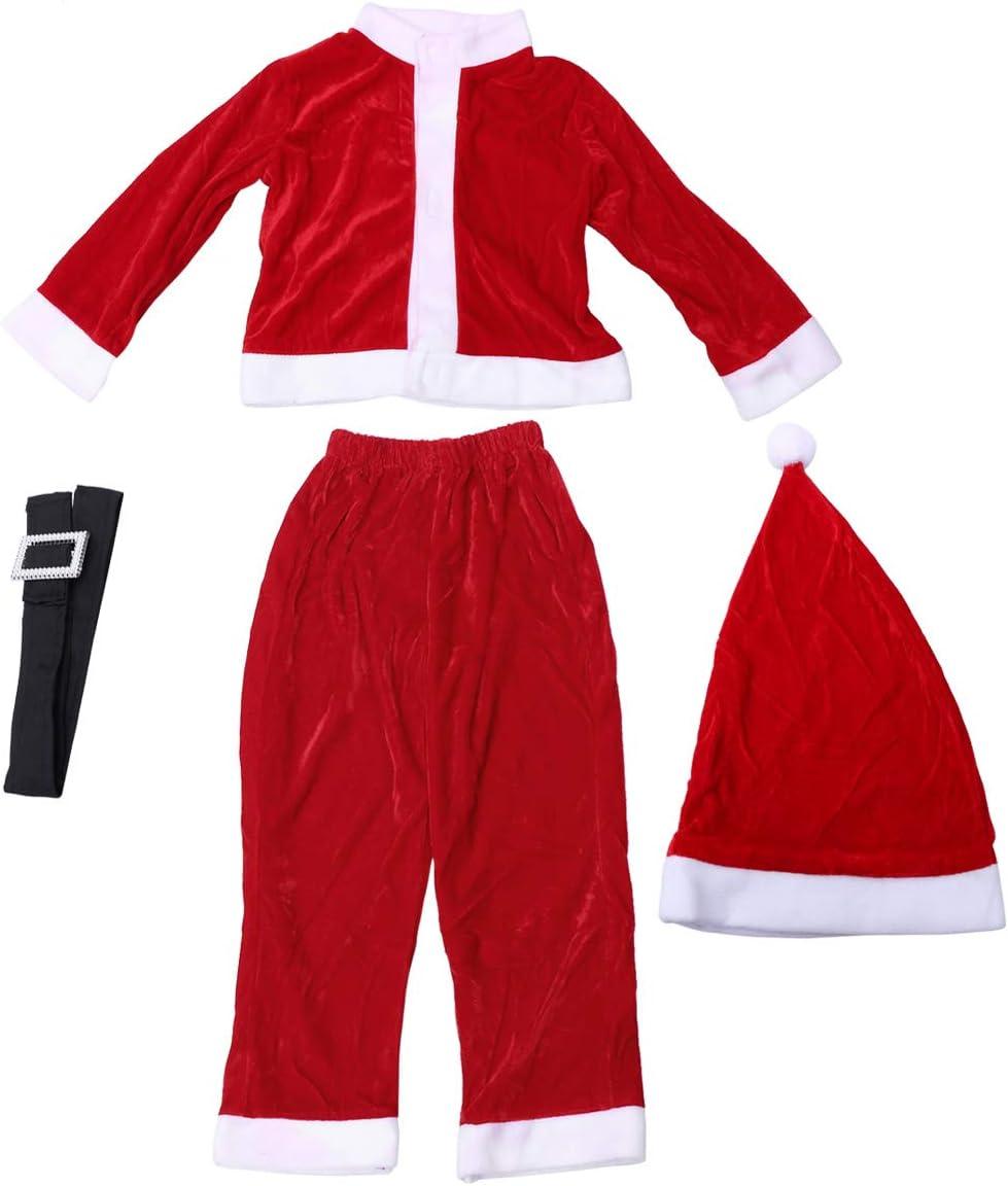 BESTOYARD Conjunto de Disfraz Papa Noel para Niño Niña Gorro de ...