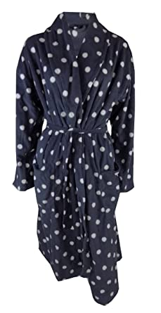 4fb84c0653 Ladies Fleece Dressing Gown Red   Grey Dotted 8 10-20 22  Amazon.co ...