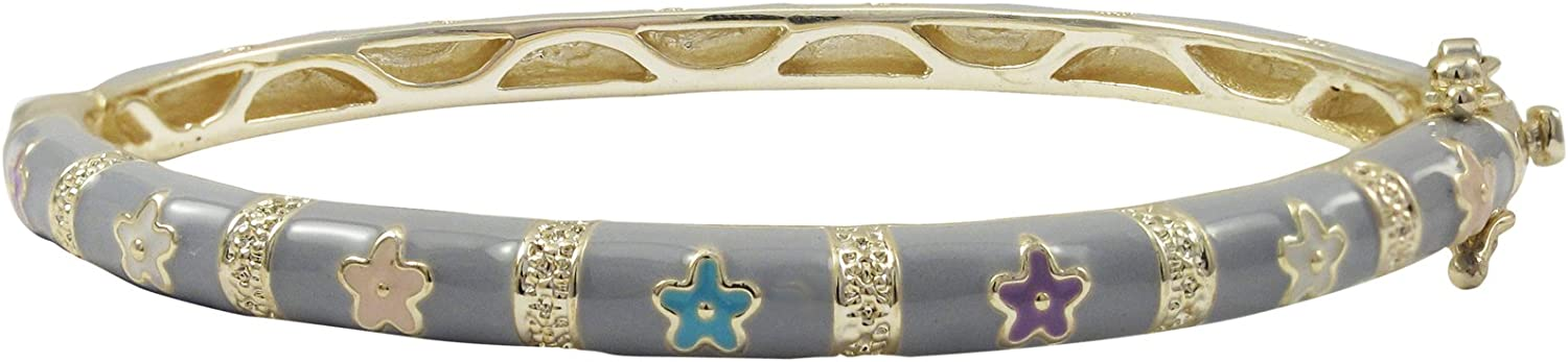 Ivy and Max Gold Finish Grey Enamel Multi Flowers Girls Bangle Bracelet