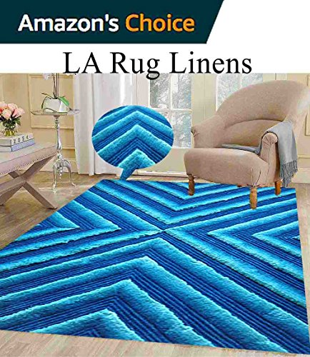 le Rug Fluffy Fuzzy Modern Home Store 3D Kitchen Outdoor Indoor Bedroom Living Room Throw Carpet Floor Shag Rug Light Blue Dark Blue Sky Blue ( Exotic TD 555 Blue ) (Aubusson 8' Round Area Rug)