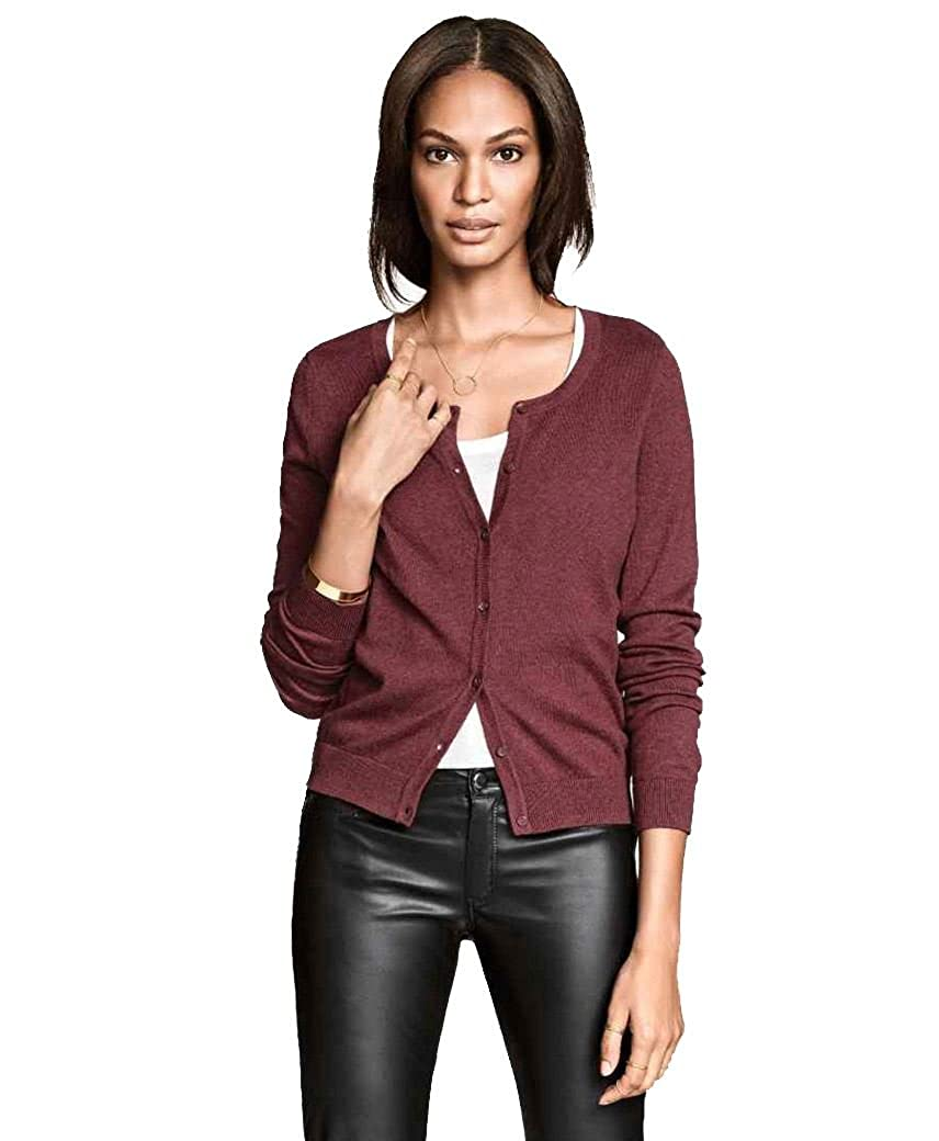 Ladies Fine Knit Cardigan Womens Round Neck Long Sleeve Top Ex H&M ...
