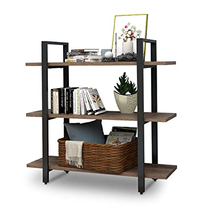 W LIVE 3 Shelf Vintage Industrial Rustic Bookshelf Wood And Metal Bookcase